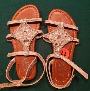 Chrome beaded girl sandals